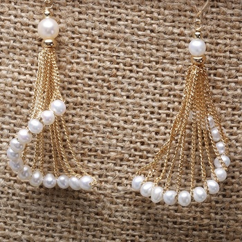 Latest Indian Gold Pearl Earring Designs Spiral Shape Skirt Fashion Women Drop Earrings