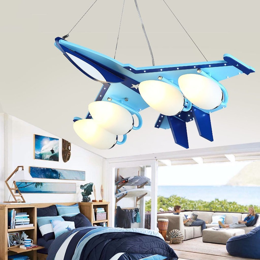 Children's room aircraft chandeliers, creative cartoon eye room lights, boys bedroom LED lamps