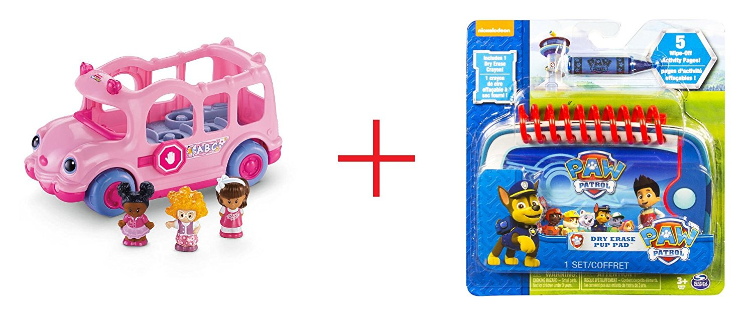 Fisher-Price Little People Lil' Movers School Bus and Paw Patrol, Dry Erase Pup Pad - Bundle