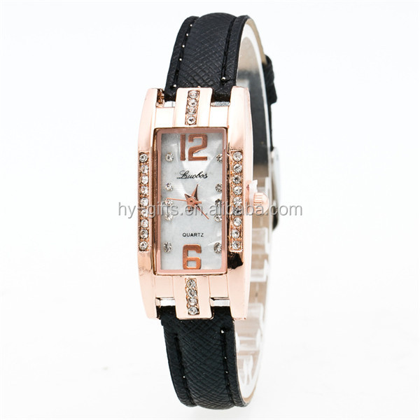 lady leather square watch rhinestone small quare face quartz watch