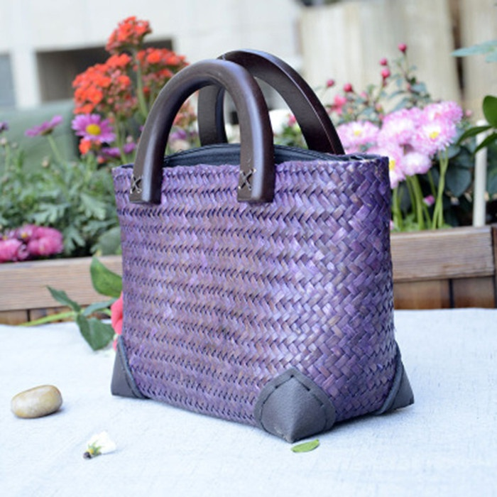 Hot Women Summer Tote Market Handbag Rattan Beach Bag Woven Straw Crochet Bag