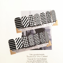 Black White stripe Nail Arts Nail Sticker Waterproof Nail Decal Sticker Gel Polish French Manicure Patch