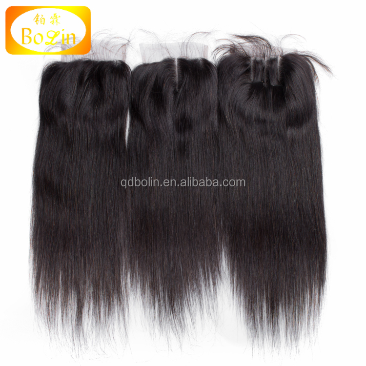 Free Shipping Brazilian Straight Closure,Lace Closure Bleached Knots 100% Virgin Brazilian Human Hair Free/Middle/3 Part Closure