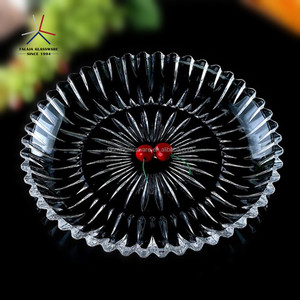 FALAJA home decoration glassware glass fruit plate crystal clear tray