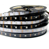 5m 36/60/96 leds/m APA102 60led/M 5050 RGB Black Full Color Pixel LED Strip Light CLK DAT 5V apa102 led strip
