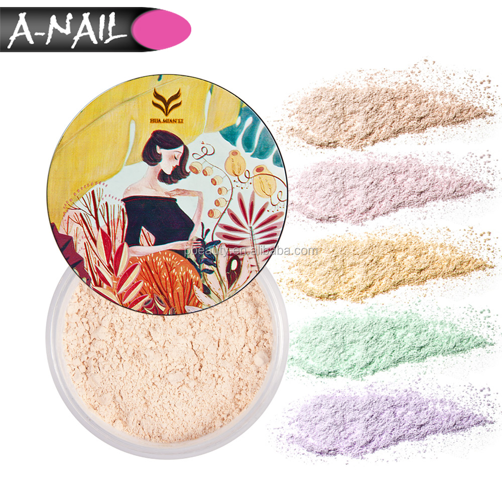 5 Colors Waterproof Oil-control Translucent Foundation Highlighter Face Makeup Loose Powder with Powder Puff