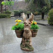 Leading the fashion trend front garden decoration of polyresin goat flower pot