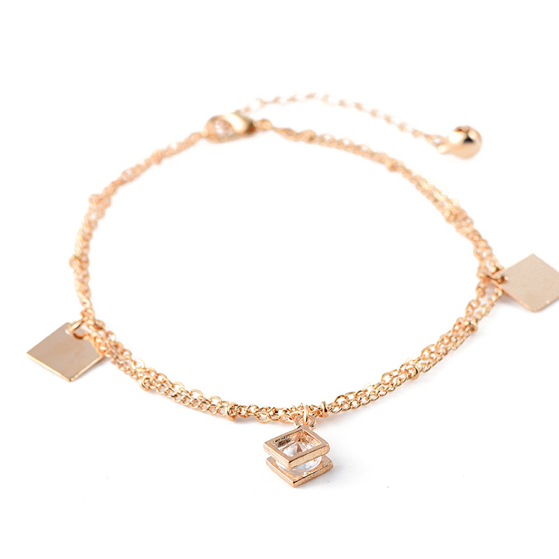 Zircon metal square piece layered jewelry chain gold anklets фото