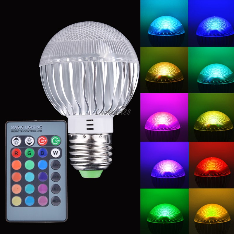 new e27 15w rgb led light color changing lamp bulb 85 265v with remote control sv007899 in led. Black Bedroom Furniture Sets. Home Design Ideas