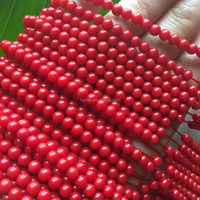 4mm round natural oil dyed red coral beads wholesale