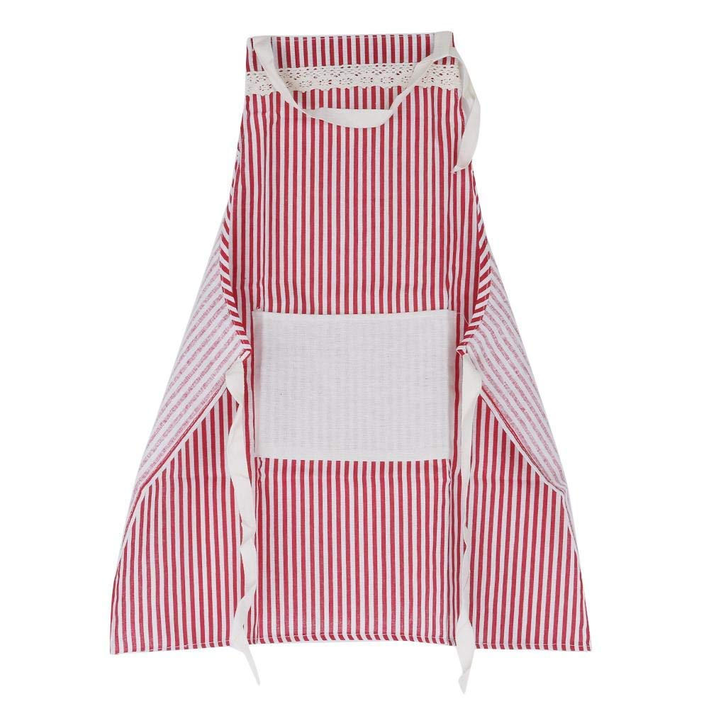 GUAngqi Stripe Apron Kitchen Chef's Apron Adjustable Cooking Bib Apron With Pocket for Women Men,Red