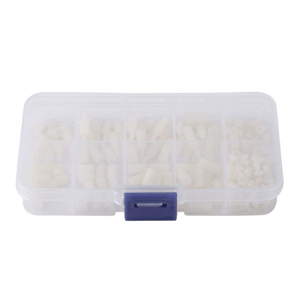 200pcs M2.5 Male-Female Hex Nylon Spacer Standoff Bolt Screw Nuts Motherboard Assortment Kit Mount With Plastic Box