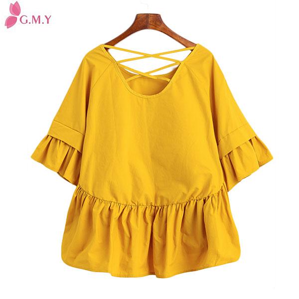 9bf6418cf1eee جديد موضة الملابس 2016 أنماط النساء الصفراء الشيفون الكشكشة مصمم بلوزة