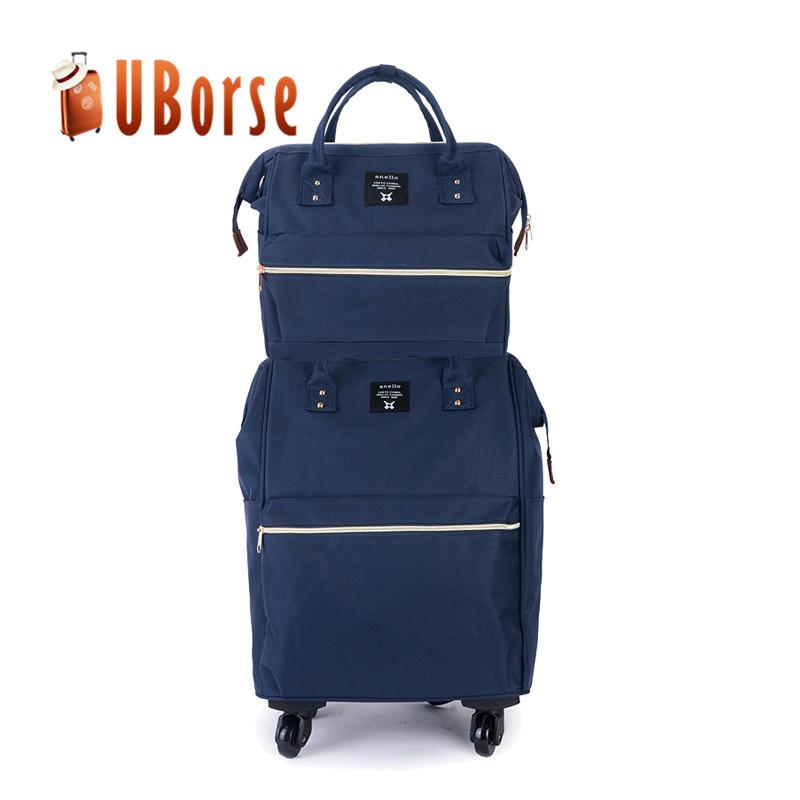 Oxford 2pcs trolley bag set fabric trolley hand luggage bag