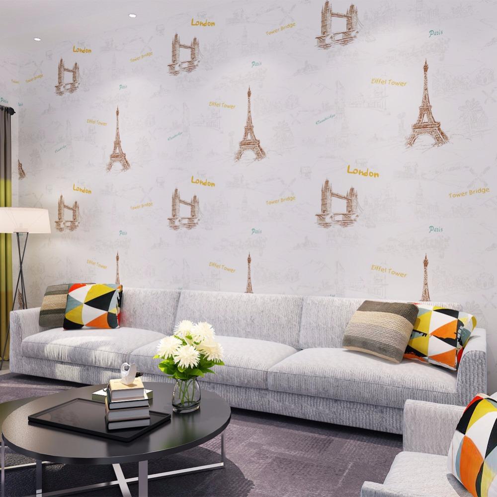 Warm Kids' Bedroom Wallpaper London Bridge Eiffel Printed