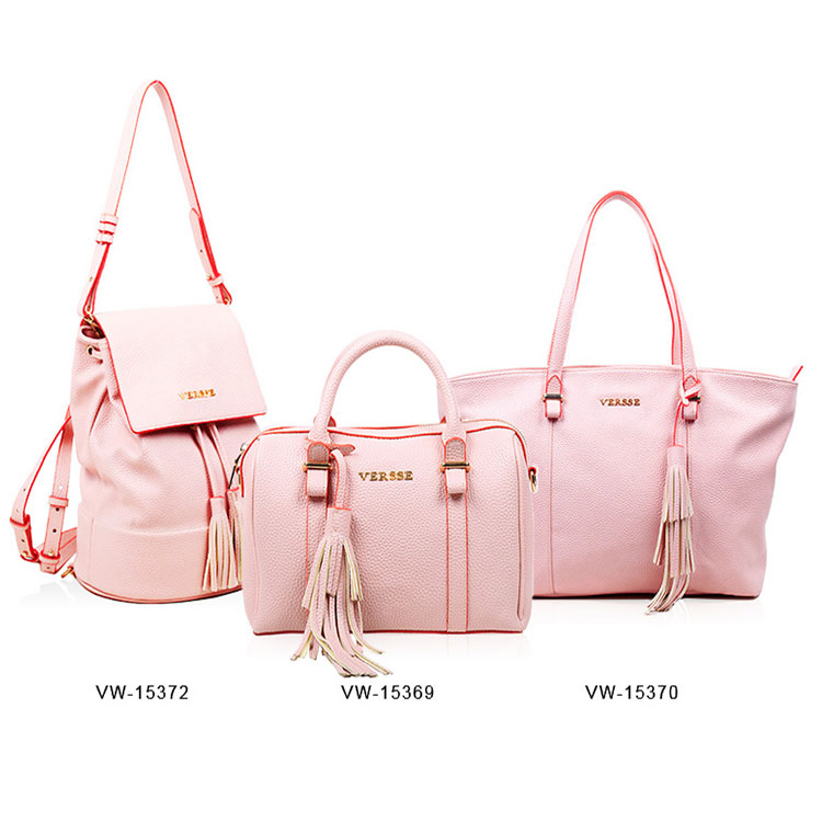 factory direct sale women handbags 3 sets 2017 pink handbag set