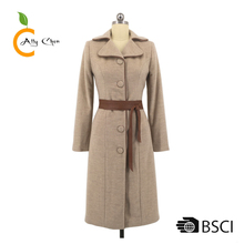 Leather belt and piping winter latest wool coat designs for women