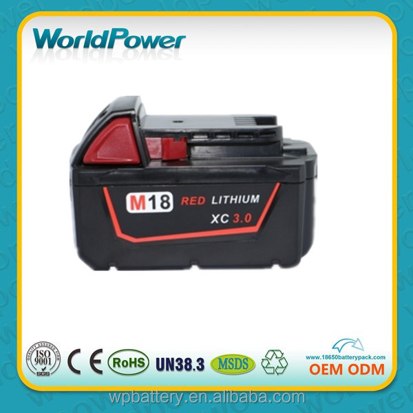 High Quality Replacement rechargeable lithium ion battery pack for Milwaukee 18V 3Ah cordless power tools