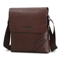 TRIPMAN Men's Fashionable Messenger Bags PU Leather Business Crossbody Shoulder Messenger Bag For Teenagers