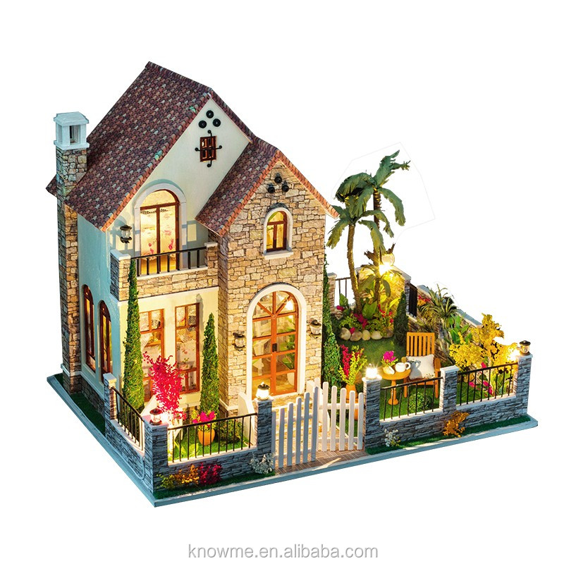 2017 wholesale wooden doll house cheap kids wooden dollhouse top fashion children doll house