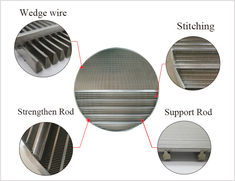 stainless steel 304 roundness wedge wire screen for beer process