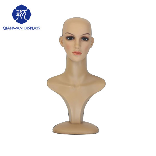 Wholesale plastic female mannequin head for hat and scarf displays