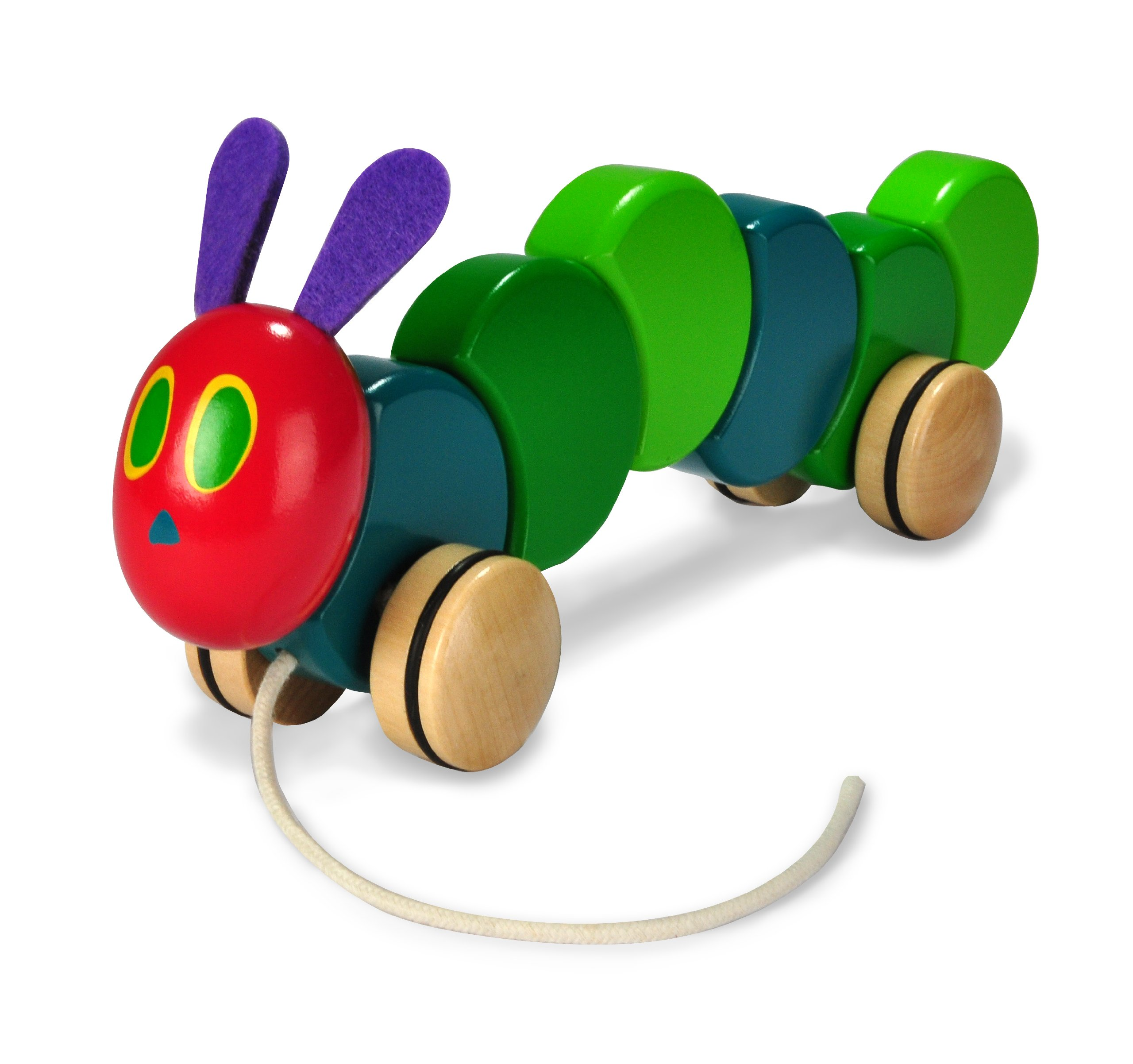 The World of Eric Carle, The Very Hungry Caterpillar Wooden Pull Toy, 13""