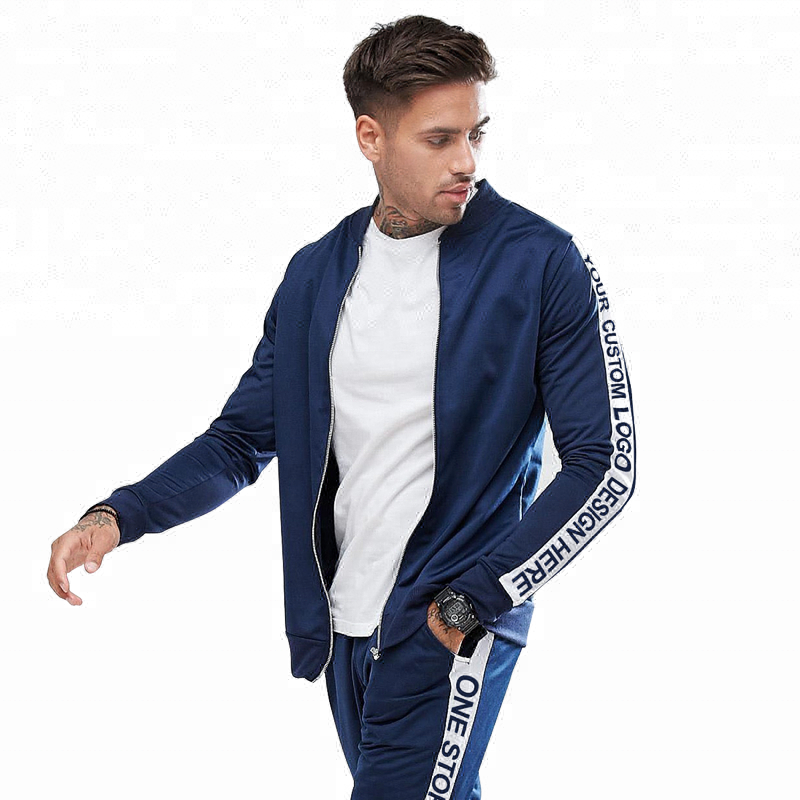 2020 custom jogging design side stripe sports track sweat suit for men