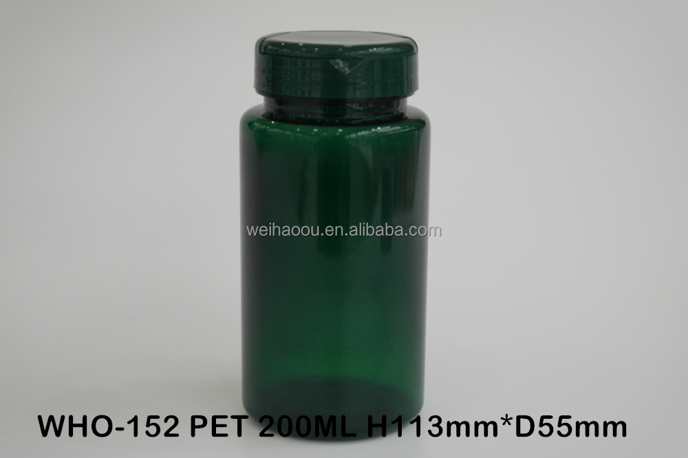 200ml empty green transparent plastic pill bottle,with flip top cap, tall-thin