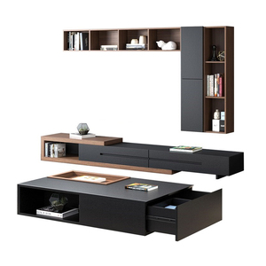 Modern Wooden Office Home Furniture Cabinet Stand Customizable TV Stand with Tea Coffee Table Set