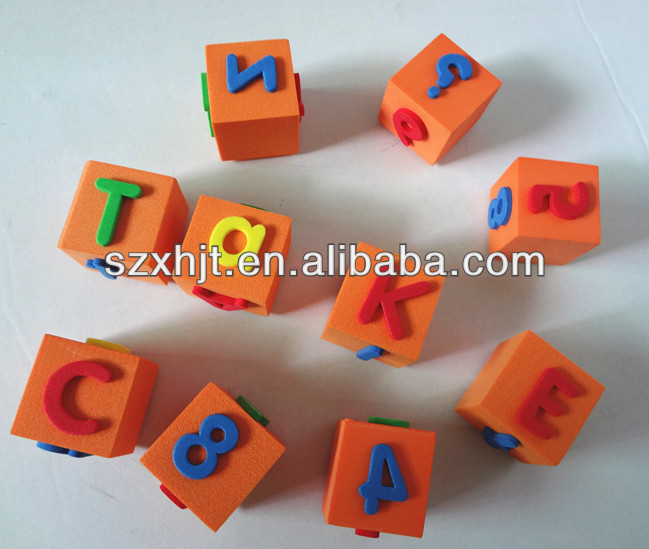 eva bath letter toys orange cubes