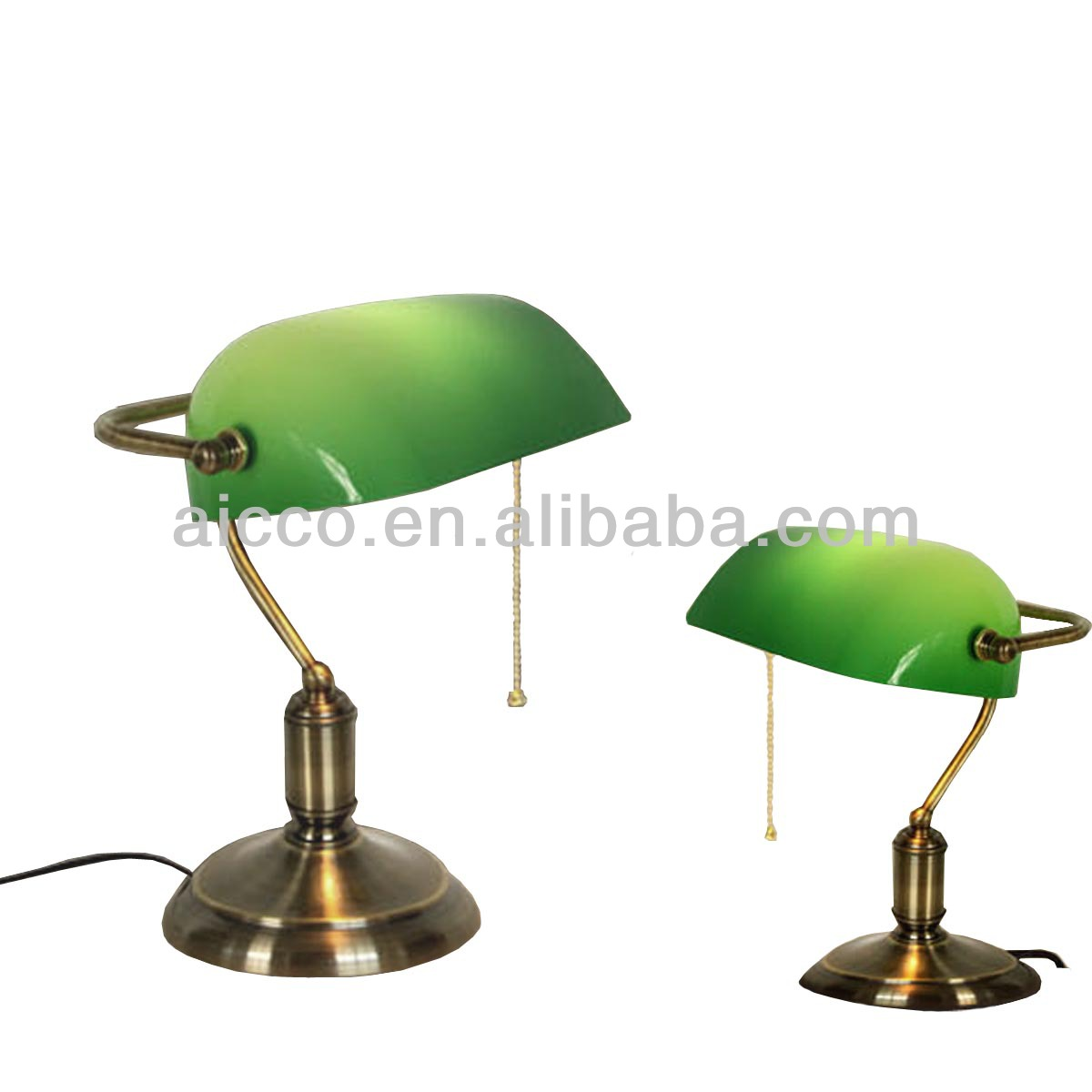European Antique Bank Table Lamp Green Glass Brass Metal Bank ...