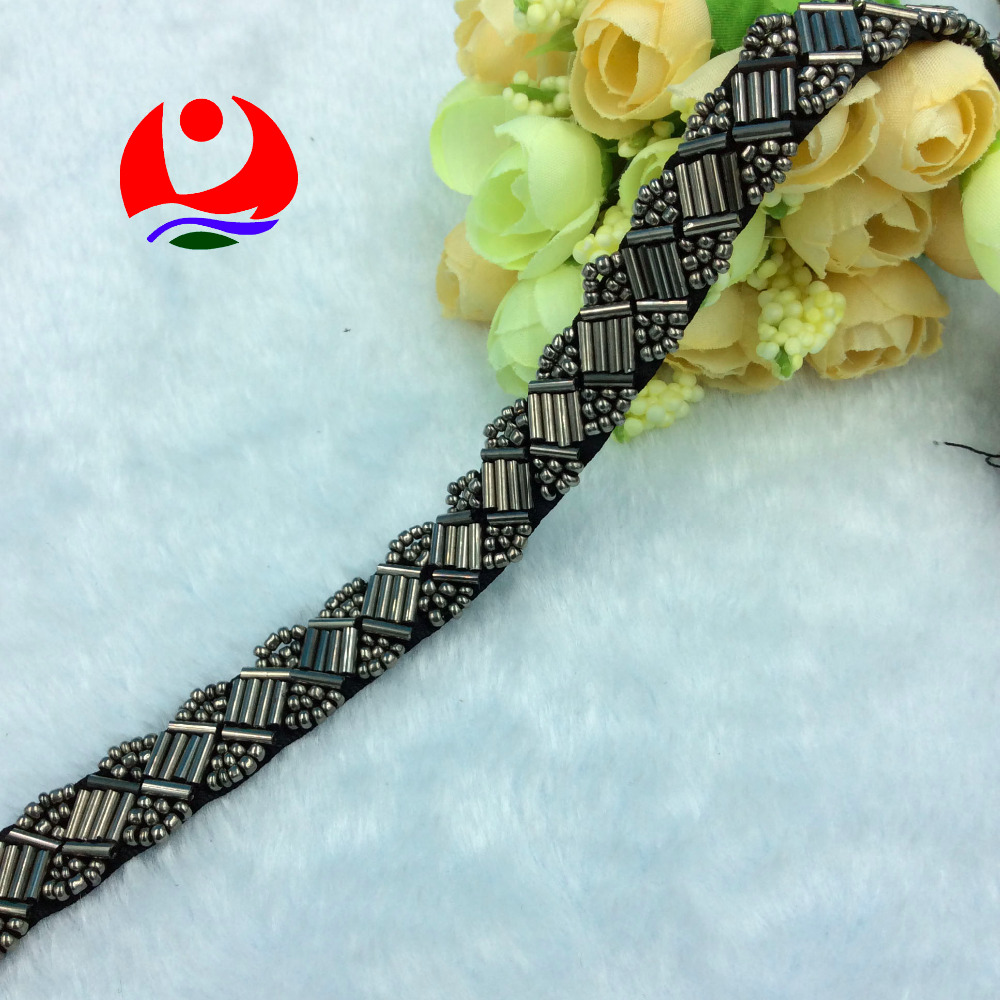 Classic style gunmetal glass tube beaded sew on black ribbon lace trimming