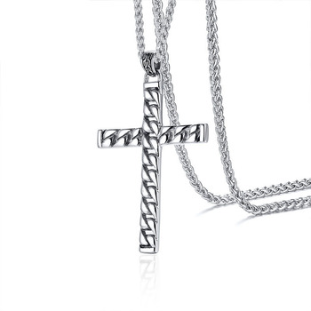 Religious jewelry stainless steel chain cross pendant necklace men