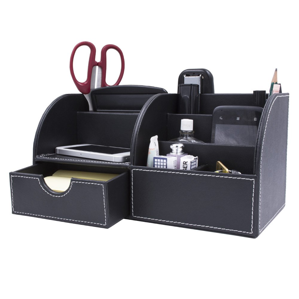 Behomy Home Office Multi-Function Desk Organizer, PU Leather Desk Stationery Organizer with Drawer, Office Storage Compartments Box for Pen, Pencil, Name Cards, Phone, Key, Pocket Money (Medium)