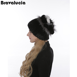 Fashion Knitted Hats Custom mink genuine fashion mink knitted Fur Ball Hat Women Mink Fur Knitted