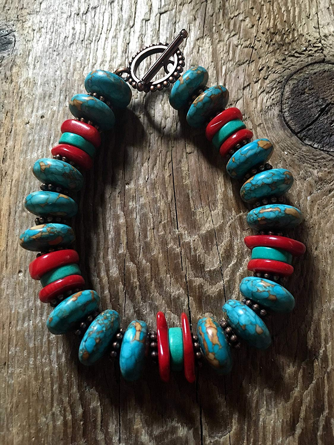 Turquoise Bracelet - Turquoise Saucer Beads and Red Coral Chips, Copper Spacers and a Dotted Copper Toggle