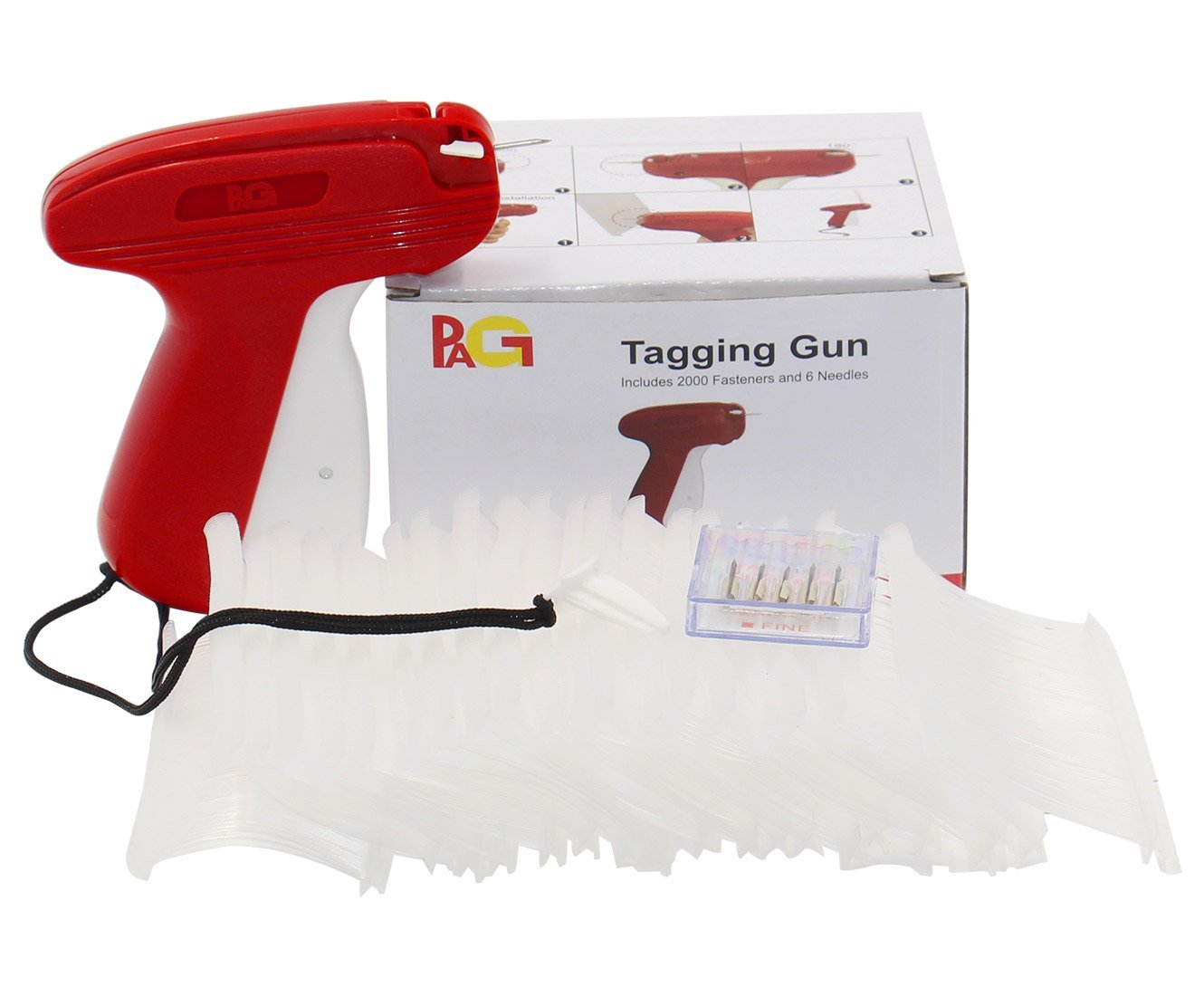 """PAG New Upgrade Fine Tagging Gun Price Tag Attacher Gun for Clothing with 6 Needls and 2000 2"""" Barbs Fasteners, Red"""