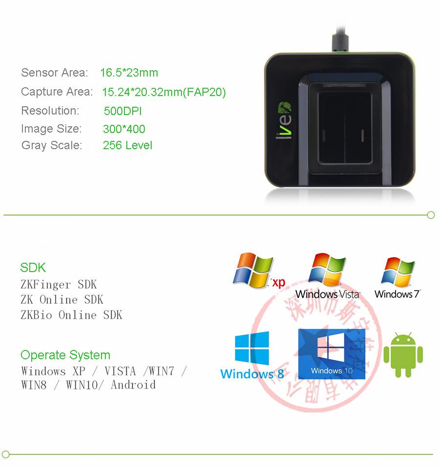 FBI compliance Usb Fingerprint Scanner for Linux ZK LIVE20R SLK20R Free  SDK, View usb fingerprint scanner for linux, ZK Product Details from  Shenzhen