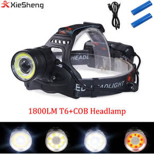 Xiesheng New COB Headlamp 1800LM cree T6 COB Head Lamp Waterproof 18650 battery white Red Light Color SOS Head Light for Outdoor