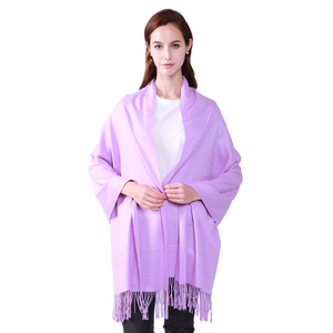 Designer China lady pure color tassels woolen fleece scarf