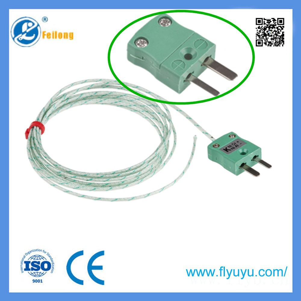 Teflon PFA high temperature stand omega k type thermocouple green connector with plug for industrial use