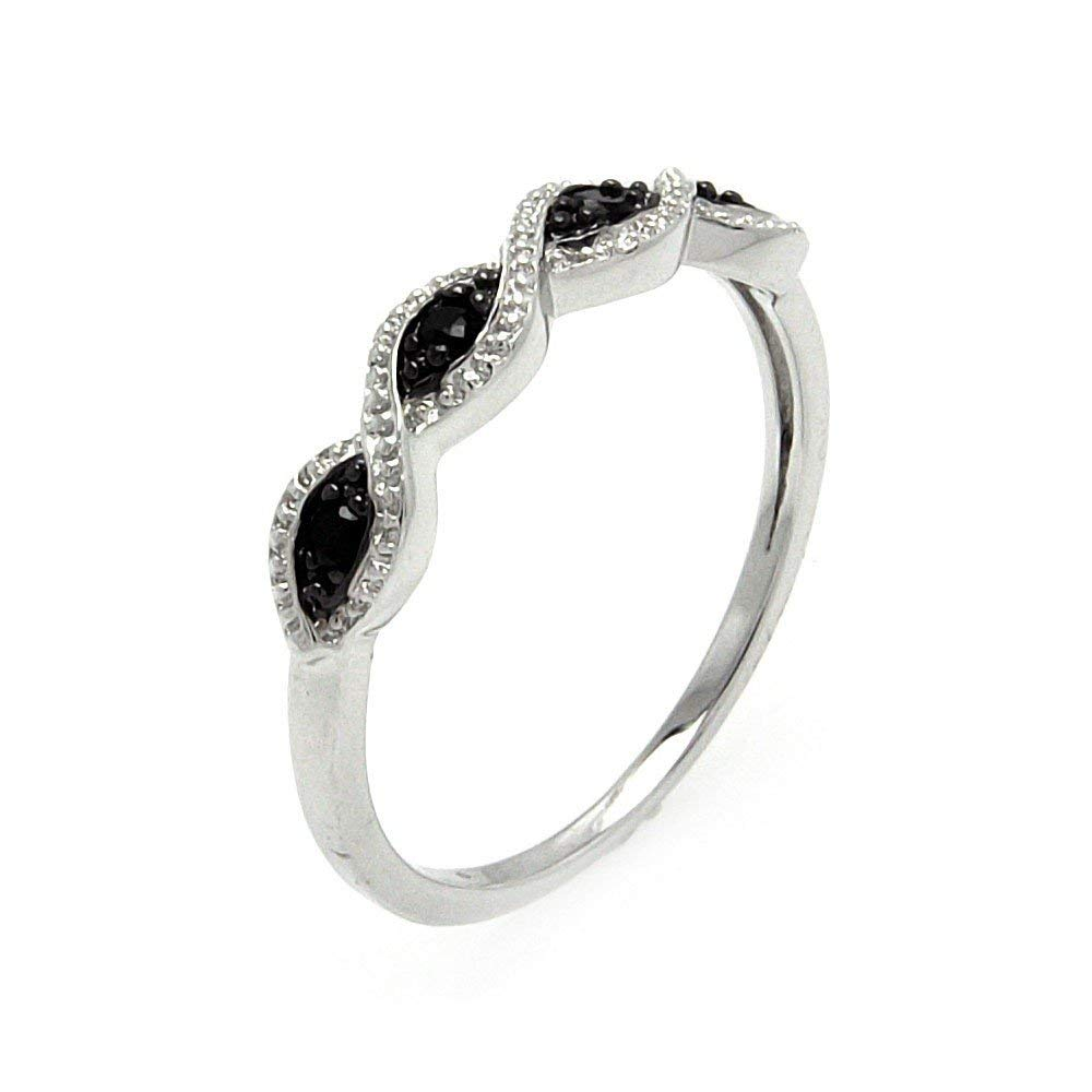 Clear And Black Cubic Zirconia Swirl Design Ring Rhodium Plated Sterling Silver