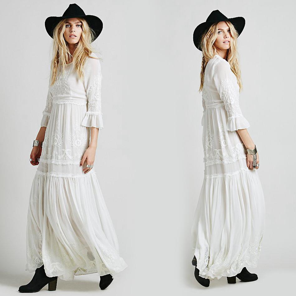 Women boho dress 2016 Bohemian Long maxi Dress Embroidery ...