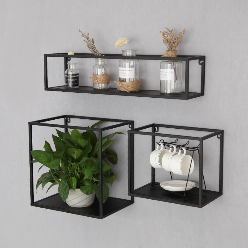 Nordic square wall hanging lattice display stand simple TV background wall decoration wrought iron wall <strong>shelf</strong>