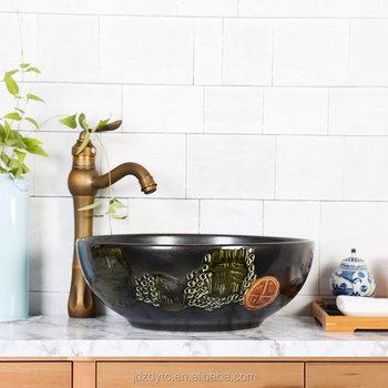 Jingdezhen Unicorn Colored Glaze Chinese Style Retro Carving Bowl Shape  Porcelain Basin Sink DJ.0111