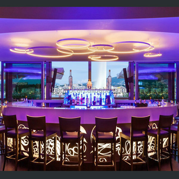 Modern restaurant bar counter design illuminated led bar counter