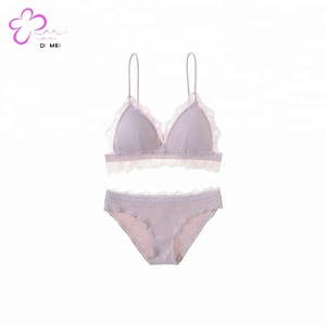 Rib small fresh without steel ring bra set sexy lace triangle soft cup lingerie women