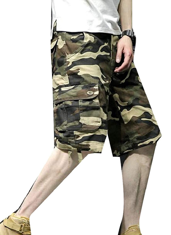ONTBYB Mens Multi-Pockets Elastic Waistband Camouflage Active Work Cargo Shorts