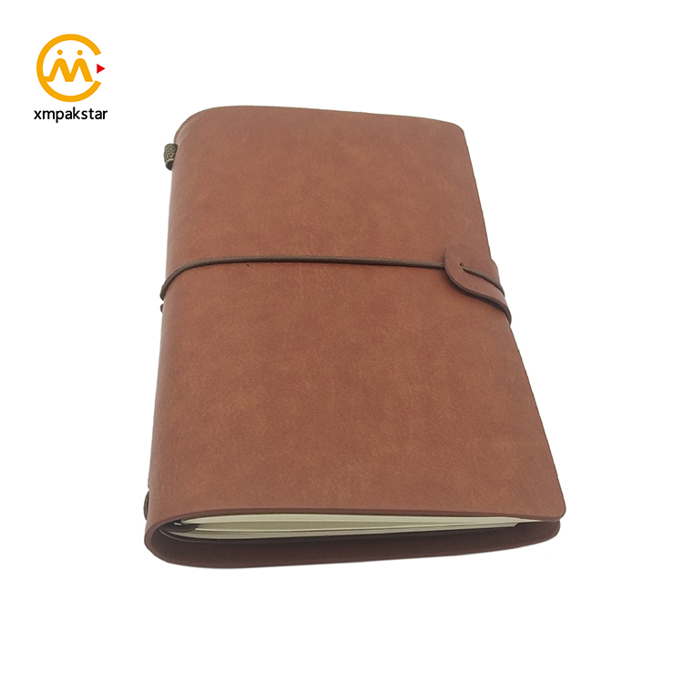 Customizable promotion  leather pu journal planner notebook with expandable inner pocket